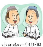 Clipart Of Cartoon Muslim Men Discussing The Quran Royalty Free Vector Illustration