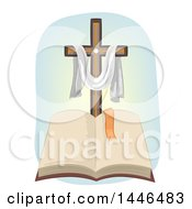 Clipart Of A Christian Cross With A Draped Cloth Over An Open Bible Royalty Free Vector Illustration