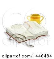 Clipart Of A Sketched Rosary On An Open Bible With A Two Handled Chalice Royalty Free Vector Illustration