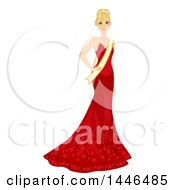 Happy Blond White Beauty Pageant Woman In A Red Gown