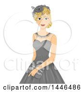 Clipart Of A Happy Blond White Woman Wearing A Vintage Lace Dress With A Hat Royalty Free Vector Illustration