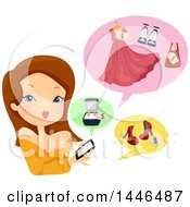 Clipart Of A Brunette White Woman Using A Smart Phone To Shop Royalty Free Vector Illustration by BNP Design Studio
