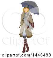 Clipart Of A Happy Blond White Woman Holding An Umbrella And Wearing Winter Clothing Royalty Free Vector Illustration