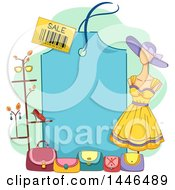Clipart Of A Mannequin Purses And Stand Around A Blank Blue Sales Tag Royalty Free Vector Illustration