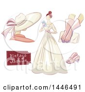 Clipart Of A Woman In A Vintage Dress With A Mannequin Gloves Clutch And Shoes Royalty Free Vector Illustration