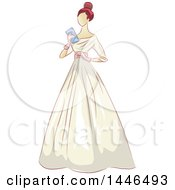 Clipart Of A Woman Holding A Clutch And Wearing A Beautiful Vintage Gown Royalty Free Vector Illustration