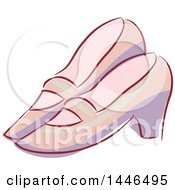 Clipart Of A Pair Of Vintage Shoes Royalty Free Vector Illustration