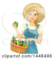 Happy Blond White Farmer Woman Holding A Basket Of Harvest Vegetables