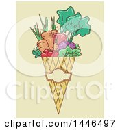 Clipart Of A Sketched Cone Of Harvest Vegetables Over Beige Royalty Free Vector Illustration
