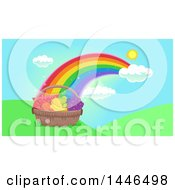Clipart Of A Basket Of Healthy Fruits And Vegetables At The End Of A Rainbow Royalty Free Vector Illustration