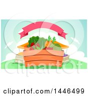Clipart Of A Crate Of Fresh Fruits And Vegetables At A Market Under A Ribbon Royalty Free Vector Illustration by BNP Design Studio