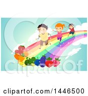 Group Of Happy Children Running On A Rainbow Towards Fruits And Vegetables