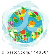 Clipart Of A Globe With Fruit And Vegetable Continents Royalty Free Vector Illustration