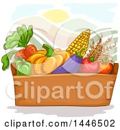 Box Of Fresh Fruits And Vegetables Over Hills And A Sun
