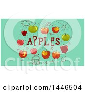 Doodles And Apples With Text On Green