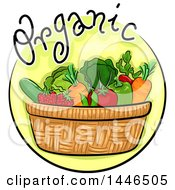 Clipart Of A Round Icon Of Organic Vegetables In A Basket Royalty Free Vector Illustration