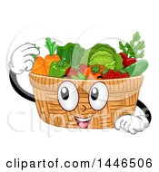 Happy Basket Mascot Filled With Produce