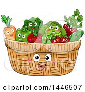 Happy Basket Mascot Filled With Produce Characters