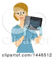 Clipart Of A Happy Blond White Female Radiology Technician Holding An Xray Of Teeth Royalty Free Vector Illustration by BNP Design Studio