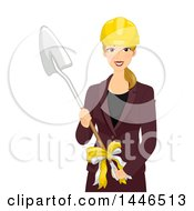 Happy Blond White Woman Holding A Shovel At A Groundbreaking Ceremony