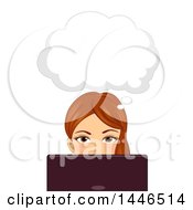 Clipart Of A Brunette White Woman Thinking And Using A Laptop Royalty Free Vector Illustration by BNP Design Studio
