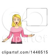 Cartoon Happy Blond White Woman Gesturing With Her Hands And Talking