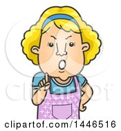Clipart Of A Cartoon Angry Blond White Mother Or Wife Holding Up A Finger And Giving A Lecture Royalty Free Vector Illustration by BNP Design Studio