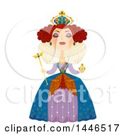 Clipart Of A Snooty White Queen Holding A Scepter Royalty Free Vector Illustration by BNP Design Studio