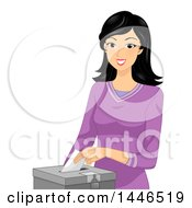 Clipart Of A Happy Black Haired White Woman Putting A Voters Ballot In A Box Royalty Free Vector Illustration