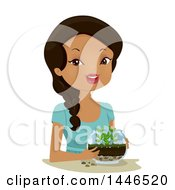 Clipart Of A Happy Black Woman Holding A Terrarium Royalty Free Vector Illustration by BNP Design Studio