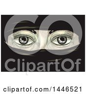 Clipart Of A Cross Hatching Sketched Styled Pair Of Eyes Of A Woman In Niqab Royalty Free Vector Illustration by BNP Design Studio