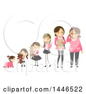 Clipart Of A Line Of Girls To Women Showing Development From Baby To Senior Royalty Free Vector Illustration