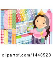 Clipart Of A Chubby Brunette White Woman Shopping For Fabric And Sewing Accessories Royalty Free Vector Illustration