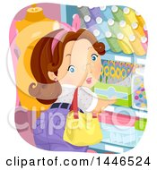 Clipart Of A Chubby Brunette White Woman Shopping For Sewing Notions Royalty Free Vector Illustration
