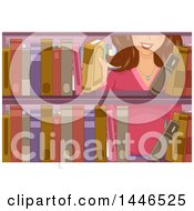 Clipart Of A Happy Brunette White Woman Selecting A Book From A Library Shelf Royalty Free Vector Illustration by BNP Design Studio