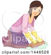 Clipart Of A Happy Brunette White Woman Kneeling And Scrubbing A Floor With A Brush Royalty Free Vector Illustration