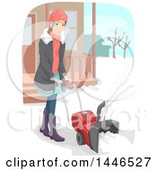 Clipart Of A Happy Brunette White Woman Using A Snow Blower Royalty Free Vector Illustration