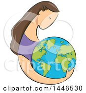 Clipart Of A Sketched Profiled Brunette White Woman Holding Planet Earth Royalty Free Vector Illustration
