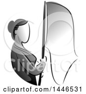 Clipart Of A Grayscale Stateless Woman Holding A Flag Royalty Free Vector Illustration