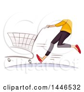 Clipart Of A Sketched Cropped Hurried Female Shopper Running With A Cart Royalty Free Vector Illustration