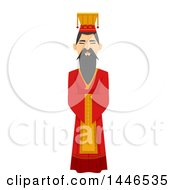 Clipart Of A Chinese Emperor In A Hanfu Royalty Free Vector Illustration by BNP Design Studio