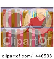 Clipart Of A White Man Selecting A Book From A Library Shelf Royalty Free Vector Illustration