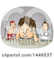 Clipart Of A Cartoon Brunette White Man Being Confused By Good And Evil Royalty Free Vector Illustration by BNP Design Studio