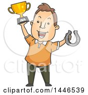 Clipart Of A Cartoon Brunette White Man Holding Up A Winner Trophy And Horse Shoe Royalty Free Vector Illustration by BNP Design Studio