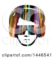 Clipart Of A Colorful Lights And Flares Male Face With Glasses And Headphones Royalty Free Vector Illustration by BNP Design Studio