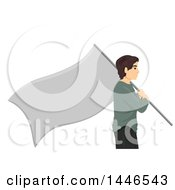 Clipart Of A Profiled Stateless Man Carrying A Blank Flag Royalty Free Vector Illustration