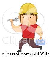 Cartoon Strong Brunette White Male Worker Running With A Tool Box And Wrench