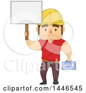 Clipart Of A Cartoon Strong Brunette White Male Worker Holding A Tool Box And Blank Sign Royalty Free Vector Illustration