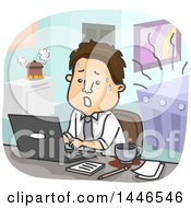 Clipart Of A Cartoon Stressed Brunette White Business Man Working And Being Distracted Royalty Free Vector Illustration