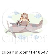 Clipart Of A Happy Aviator Flying A Vintage Plane Royalty Free Vector Illustration